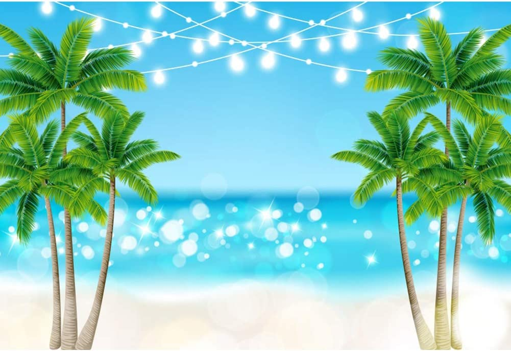 YEELE 10x8ft Summer Beach Party Photography Backdrop Kids Birthday Party Background Seaside Vacation in Hawaiian Kid Lovers Portrait Photoshoot Props Summer Luau Party Birthday Wedding Wallpaper