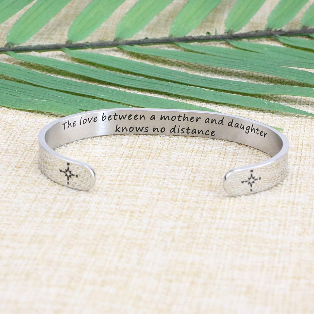 Joycuff Gift for Family Grandmother Mom Long Distance Bracelet Moving Away Mother Daughter Jewelry Hidden Message Mantra Cuff Bangle