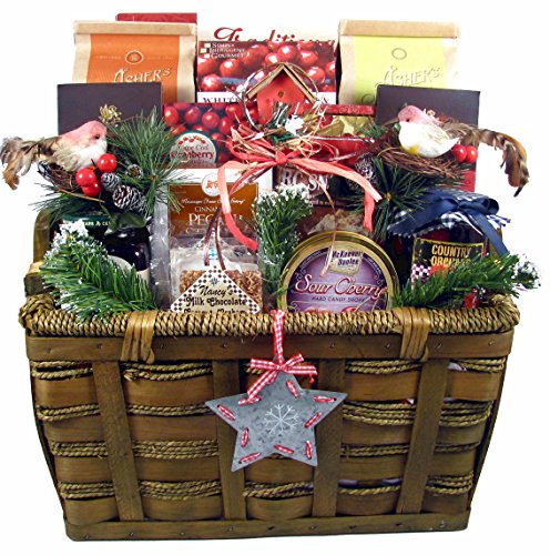 A Bountiful Holiday Harvest - Holiday Gift Basket Loaded With Traditional Holiday Cookies Candies and Chocolates, 11 Pounds ()