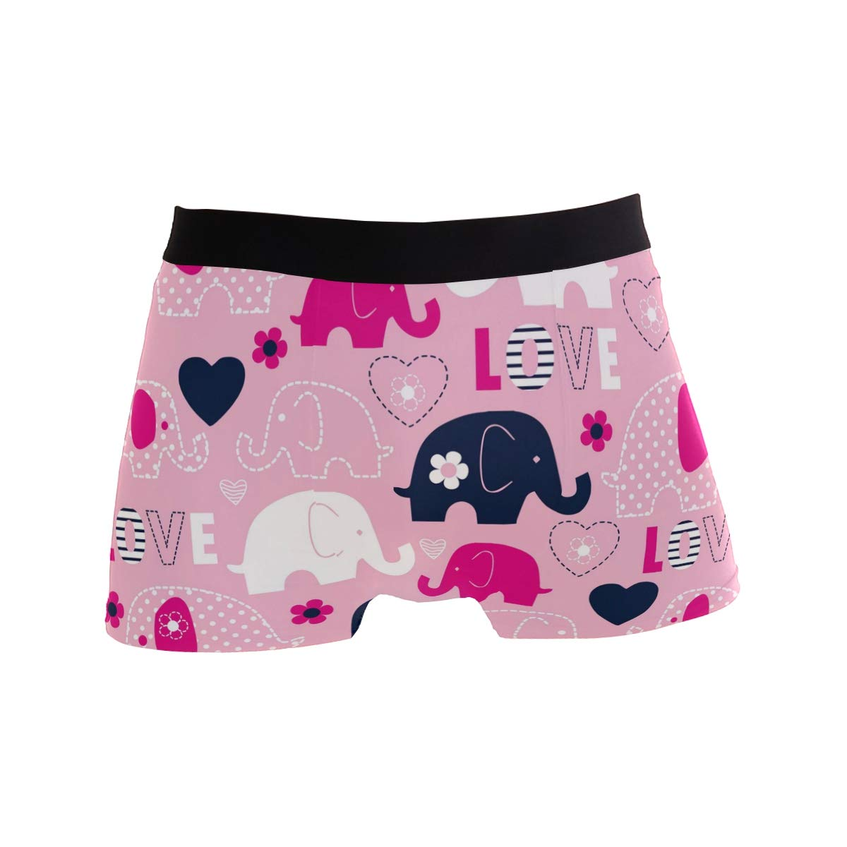 Cute Floral Elephant Love Heart Short Underwear Soft Stretch Underpants for Men Boys S-XL BETTKEN Mens Boxer Briefs