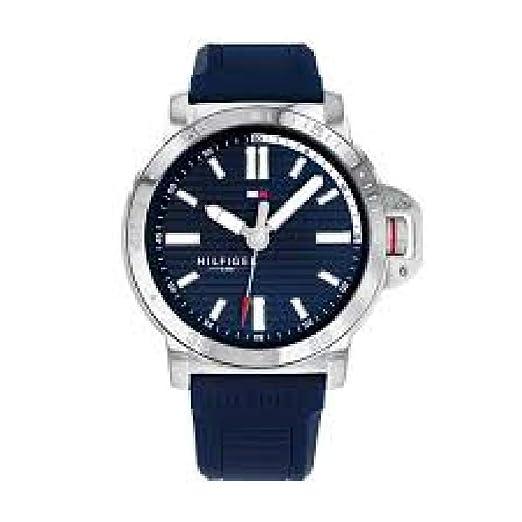 Tommy Hilfiger 1791588 Reloj Hombre Cuarzo Acero Tamaño 44 mm Caucho Azul: Amazon.es: Relojes