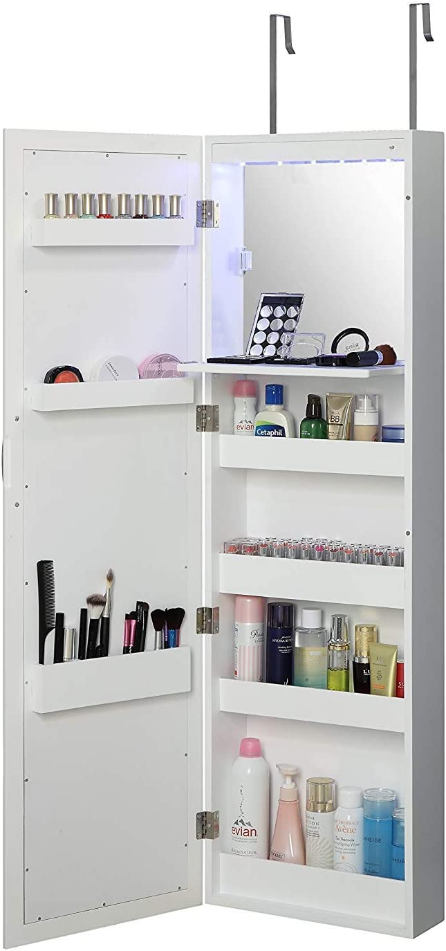 Abington Lane Over The Door Makeup Organizer - Beauty Armoire with LED Lights and Stowaway Mirror - White Finish - (Includes Wall Mounted Option)