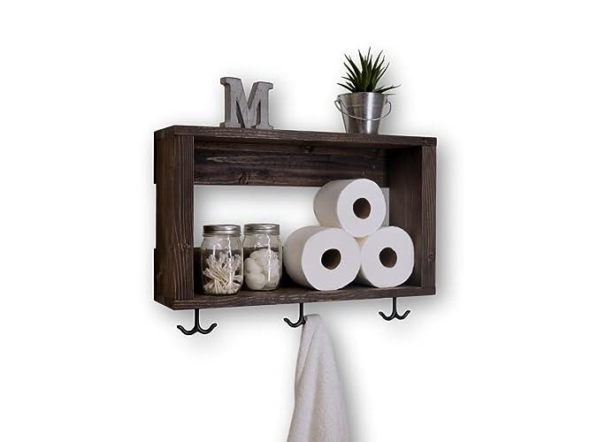 Handmade Crate Bathroom Shelf With Towel Hooks