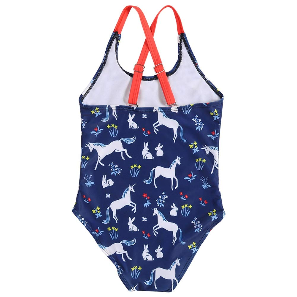 Looching Girls One Piece Swimsuits,Baby Cartoon Pattern Printing Crossback Navy Bathing Suit