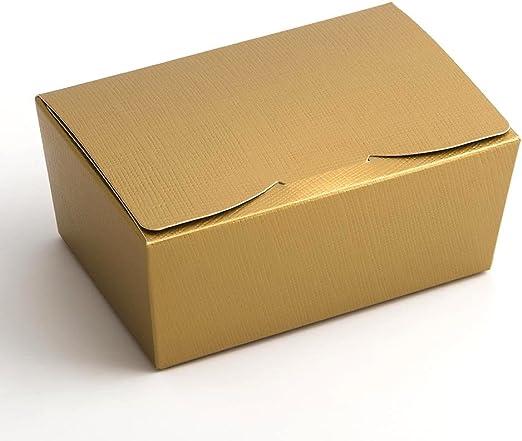 Paquete de 10 cajas de regalo medianas Wedding Favours para hacerlas tú mismo con lazo de seda dorada, se envían en embalaje plano y sin decoraciones: Amazon.es: Hogar