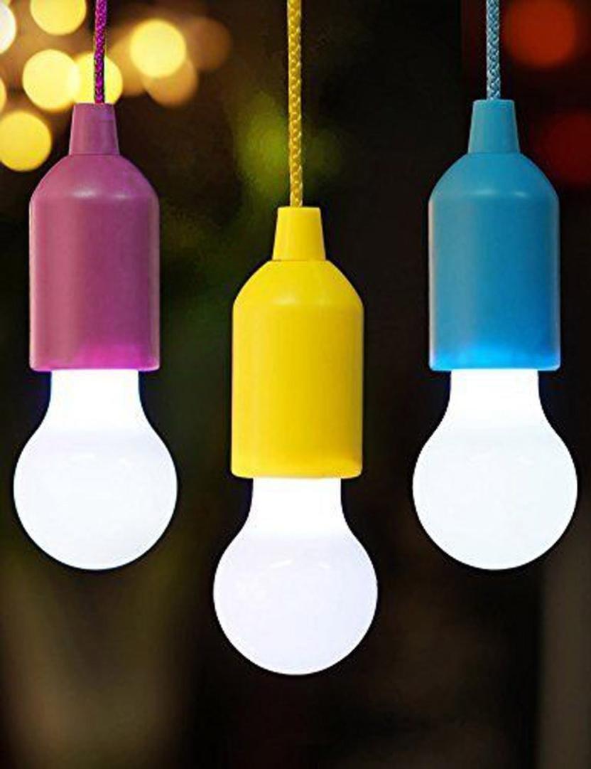 Xshuai Bewegliche wasserdichte lange Lebensdauer-5, 5 * 5, 5 * 15cm LED-Zug-Schnur-Glühlampe-im Freien Garten-kampierende hängende LED-helle Lampe (Blau Rosenrot Gelb) (Rosenrot)