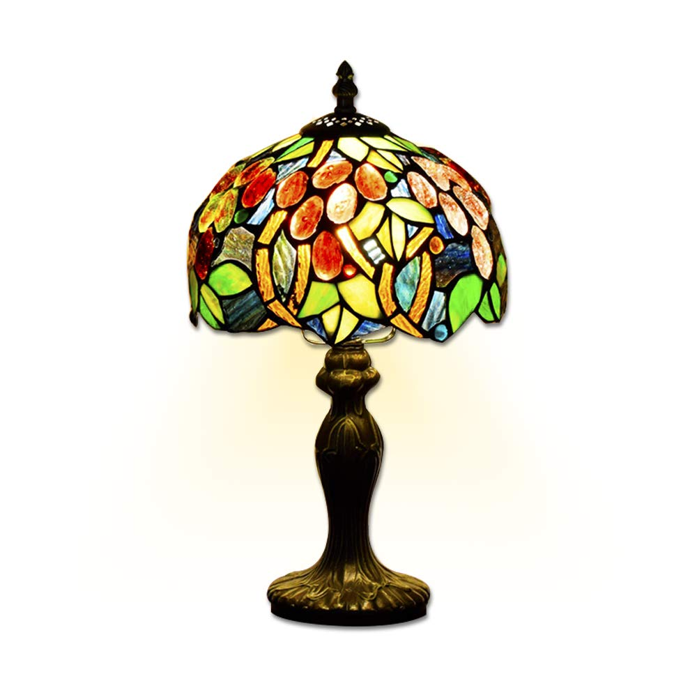 EuSolis E26 Tiffany Traditional Bedside and Table Lamps Handcrafted 8 Inch Flowers Stained Glass Luxury Bedside Lamps European Lamps for Living Room Bedroom Vintage 01