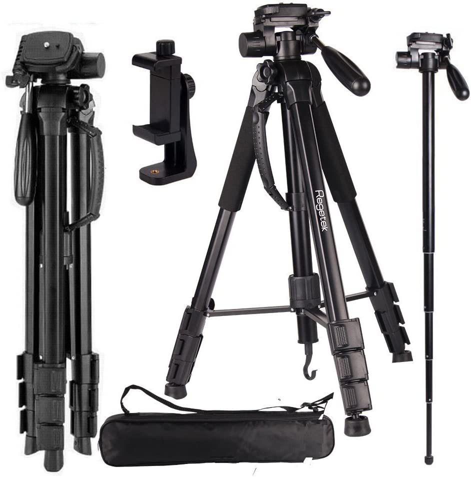 "Regetek Camera Tripod Travel Monopod (70"" Aluminum Professional Video Camera Mount Leg) Adjustable Stand with Flexible Head for Canon Nikon Dv DSLR Camcorder Gopro Cam& Carry Bag & Cellphone Mount"