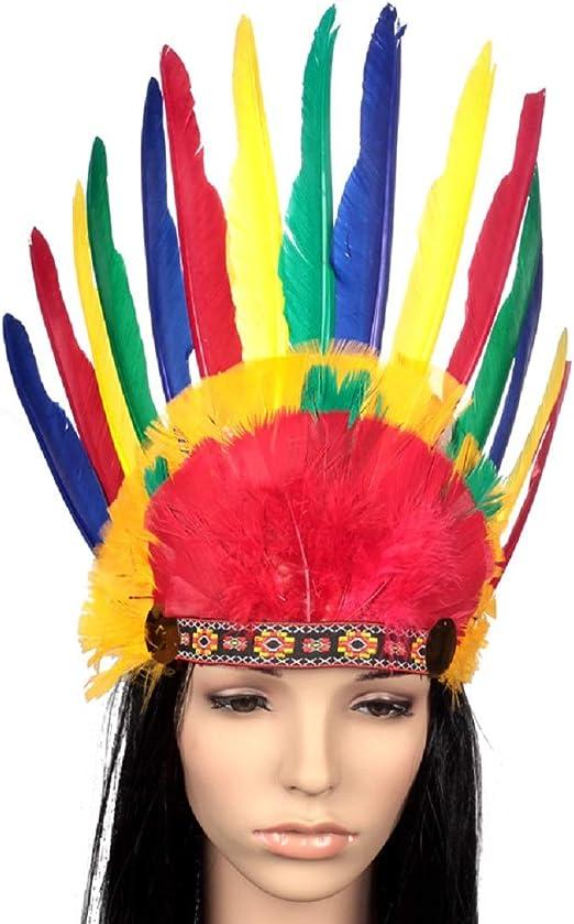 Sombrero Principal Indio de Plumas de Colores Tocado de ...
