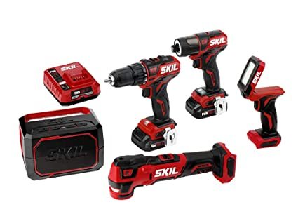 SKIL 5-Tool Kit: PWRCore 12 Brushless 12V Drill Driver, Impact Driver,  Oscillating MultiTool, Area Light and Bluetooth Speaker, Includes Two 2 0Ah