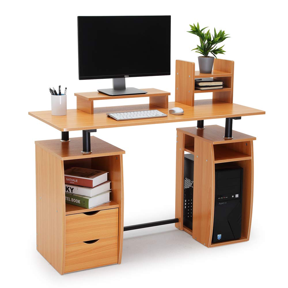 CRAZYLYNX Computer Desk, Office Study Desk Computer PC Laptop Table Workstation Dining Gaming Table with CPU Cupboard and 2 Drawers for Home Office, Black Wood Grain
