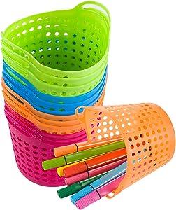 12 Pcs Round Pencil Basket- Bright Color Plastic mesh Bins Classroom Container with Handles Durable Plastic Mesh Baskets for Office Drawers Shelves Desktop