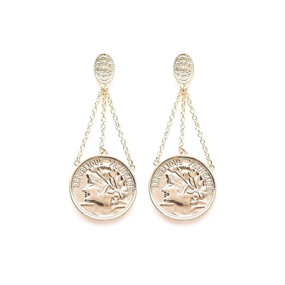 Ludage Earrings, Earrings Long Alloy Round Pendant Length About 7cm