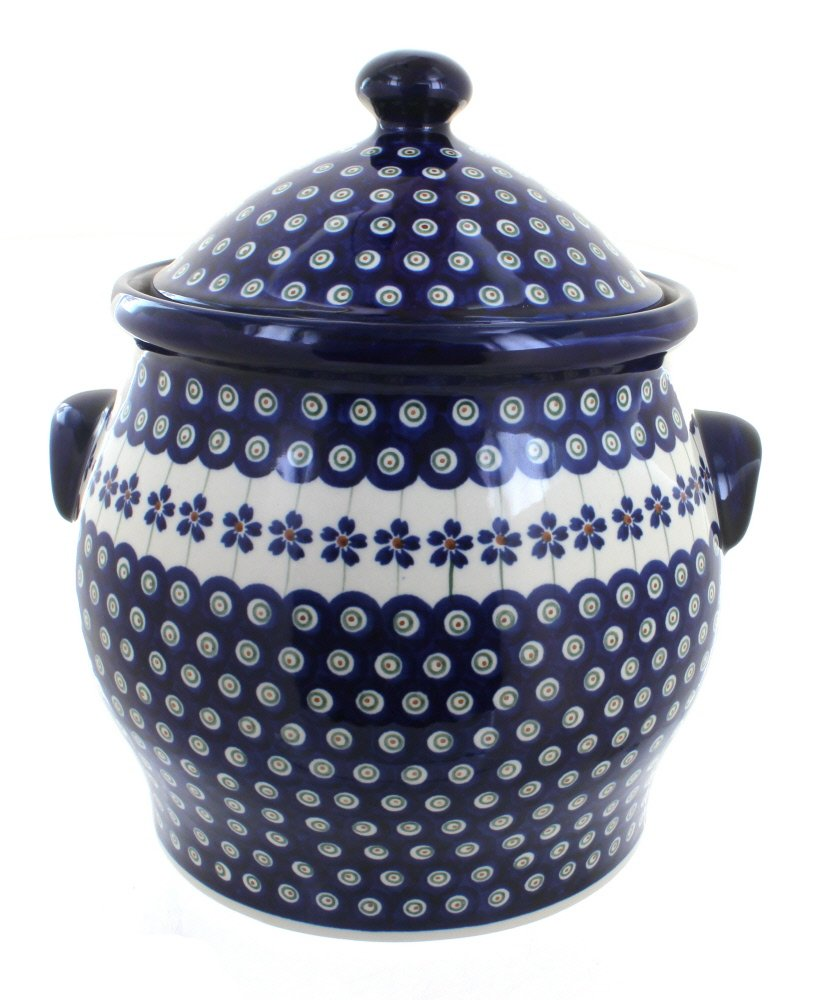 Polish Pottery Flowering Peacock Cookie Jar by Zaklady