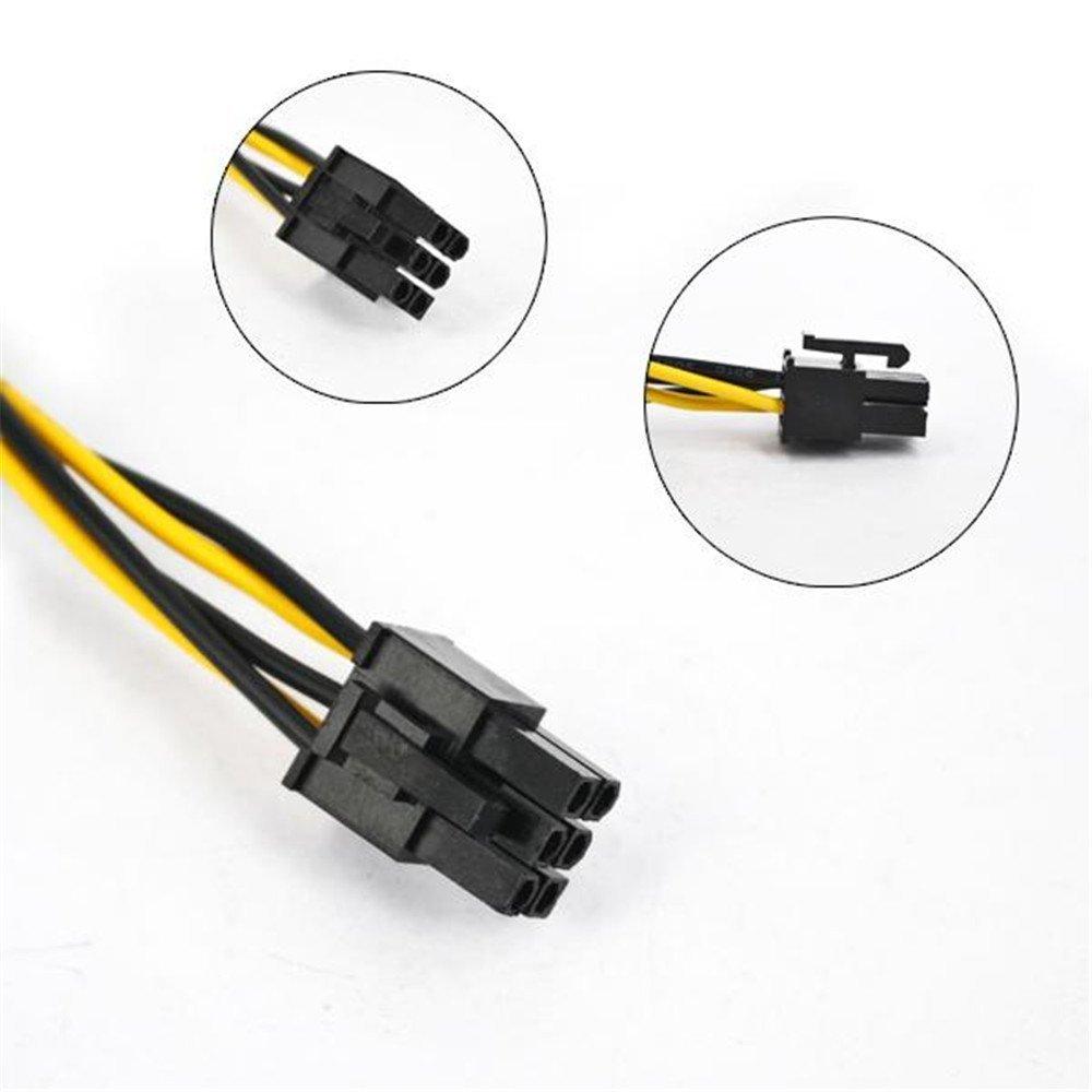 Gaoominy 15 Pin SATA To 6 Pin PCI EXPRESS PCI-E Sata Images Converter Adapter Video Card Power Cable cord 20cm 2 pack