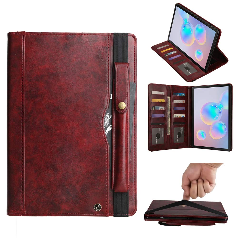 Galaxy SM-T860 Stand Case, Premium PU Leather Folio Stand Cover with Auto Wake/Sleep &Pen Sleeve &Card Slots Protective Shell Book Case for Samsung Galaxy Tab S6 10.5 Inch SM-T860/T865/T867(Wine Red) by TechCode