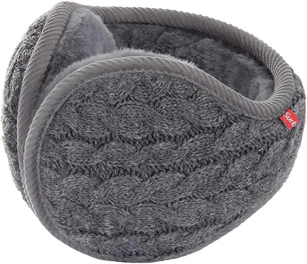 Surblue Unisex Warm Knit Earmuffs Ladies Cashmere Winter Pure Color Outdoor Fur Earwarmer, Adjustable Wrap