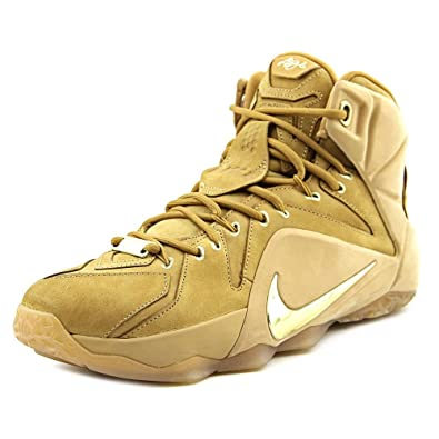 quality design f672d 09a80 Nike Mens Lebron XII EXT QS Wheat Metallic Gold Suede Size 9 Basketball