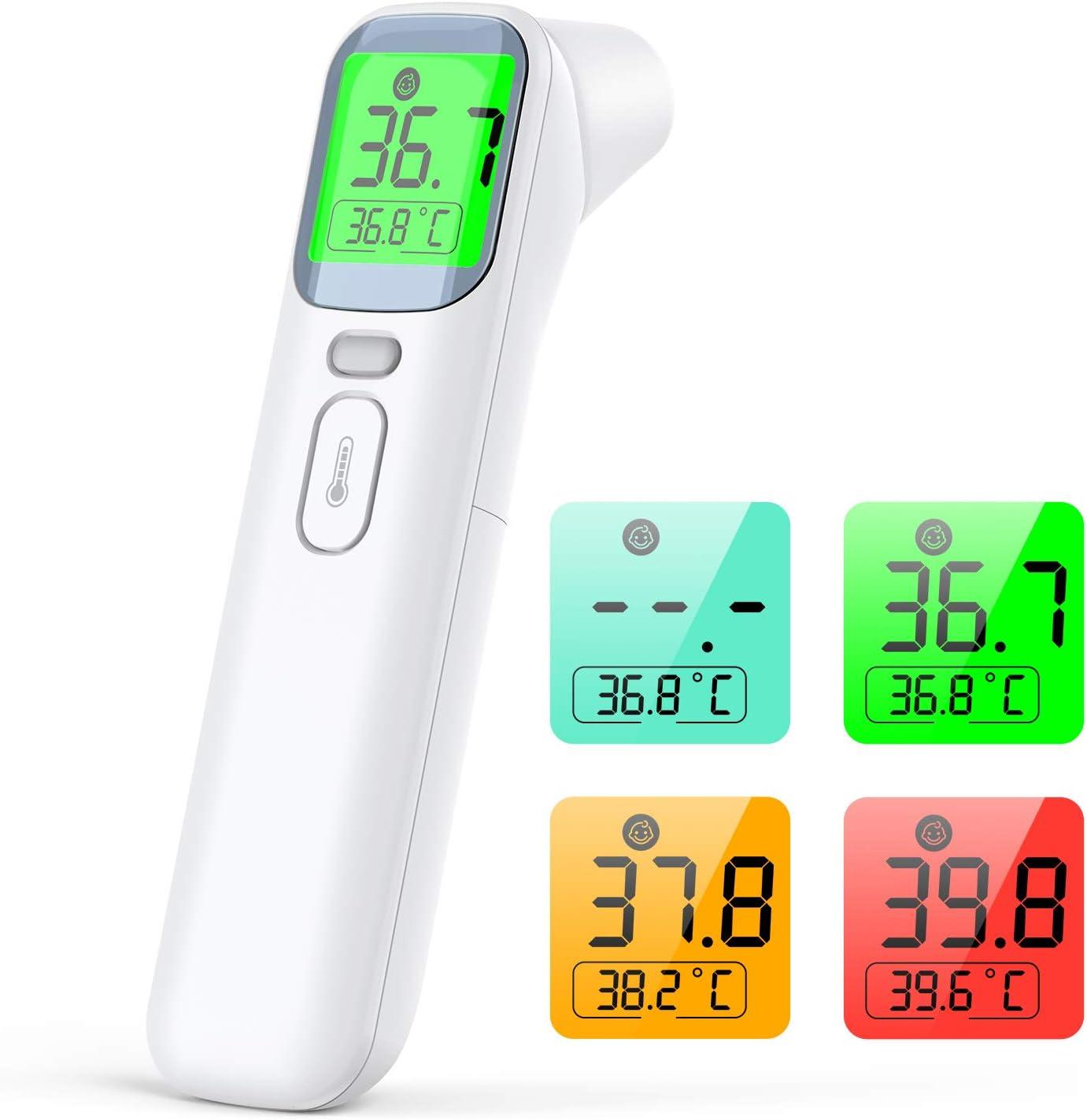 IDOIT Termometro infrarrojos 4 en 1 termómetro infrarrojos sin contacto médico para termometro frontal y oído,termometro laser precisa y rápida, termometro digital adulto y niños, ambiente y objetos