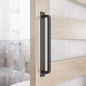 """SMARTSTANDARD 12"""" Antique Rustic Handmade Barn Door Handle Black Flush Long Base Handle Pull for Gate Door Cabinet"""