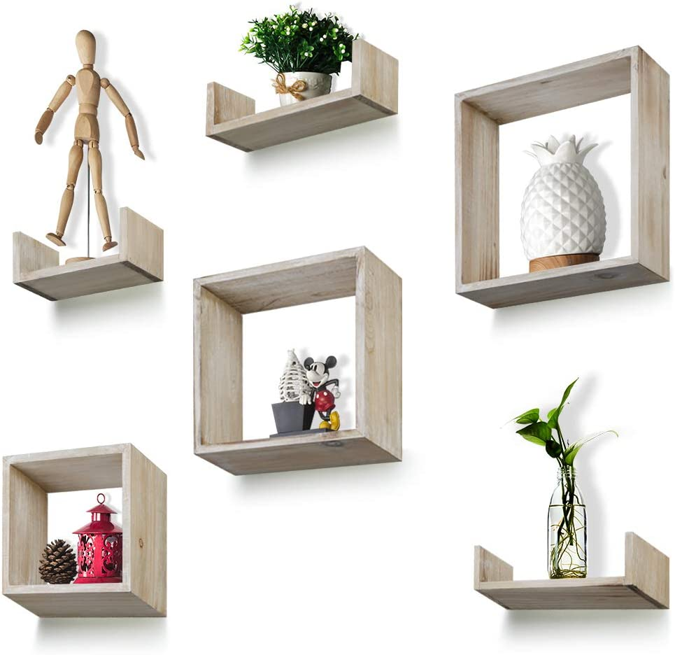 Floating Shelves Set of 6 - Rustic Wood Wall Shelves with 3 Square Boxes and 3 Small U Shelves for Free Grouping Carbonized
