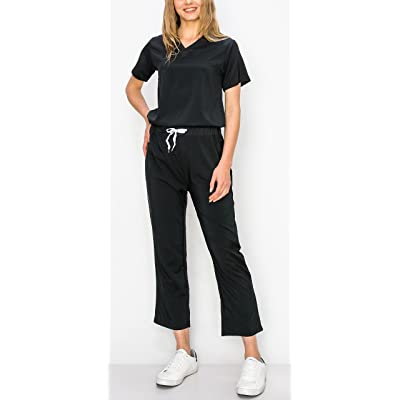 Womens Black Premium Stretch Health//Nurse V-Neck Scrubs Top /& Straight Leg Pants