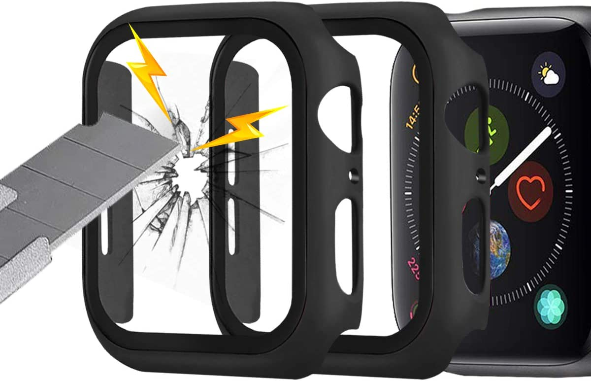 (2 Pack) Seltureone Compatible for Apple Watch SE, Series 6/5/4 44mm Case with Screen Protector, Thin Full Coverage PC Hard Cover with Tempered Glass Screen for iWatch Accessories- Black