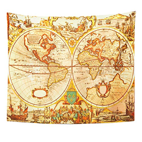 (Emvency Decor Wall Tapestry Old World Antique Map of The Treasure Ancient Discovery USA Travel Wall Hanging Picnic for Bedroom Living Room Dorm 80x60 Inches)