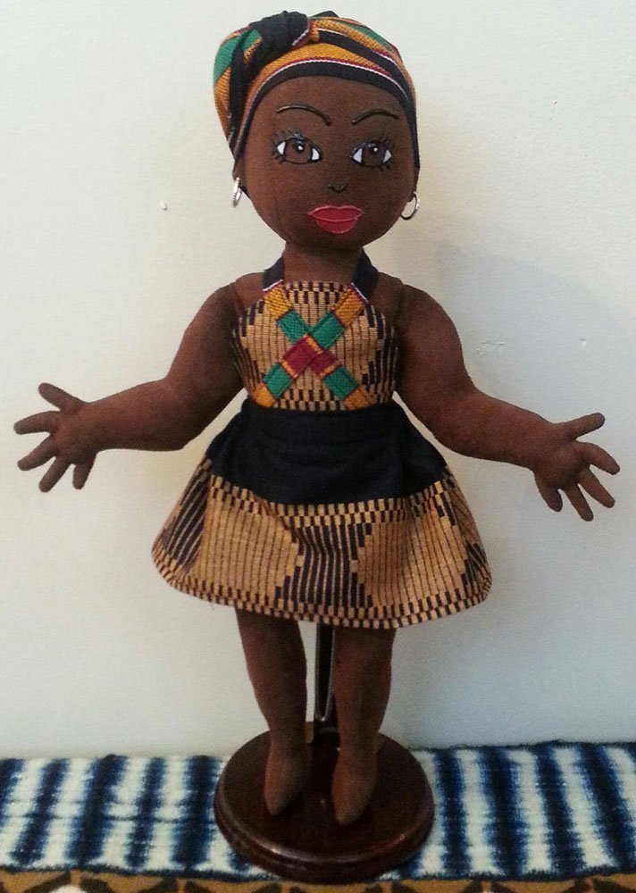 Head Wrap 14 inch Doll Hand Painted Collectible Doll Handcrafted Black Doll African Inspired African American Doll Ethnic Doll