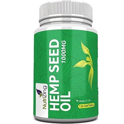 Suplemento de Aceite de Cáñamo por NutriZing. Fácil de Tragar, Contiene Omega 3 y