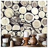 YT1430 Faux Stacked Chopped Log Woods Wallpaper,3D Wood Wallpaper murals for Art Bedroom Livingroom Kitchen Workshop Bar Wall Decoration 20.8'' x 33ft