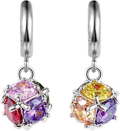 Gold Small Clear Rhinestone Gems Style Red Ruby Ball Drop Fashion Earrings New