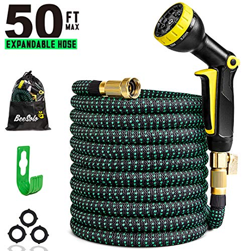 50ft Expandable Garden Hose Expanding Water Hoses, Outdoor Yard Cloth Hose can 3X Expandable with 100% Solid Brass Valve 9 Function Hose Nozzle,50feet Flexible Lightweight Gardening Hoses No Kink
