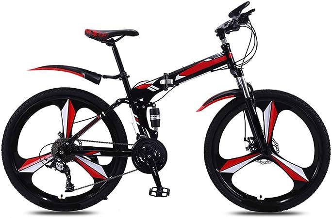 24in Montaña Bicicletas Plegables, Bastidor Suspensión For Adultos Bicicleta Plegable Acero Carbono Alta Completa Bicicletas Plegables, Plegable 24/26 Pulgadas De Doble Frenos Disco (21) Velocidad: Amazon.es: Hogar