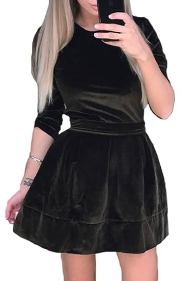 Mupoduvos Le Donne Eleganti E 3 4 Round Collo Nero Velluto Manica in Forma E  Luminosità Vestito  Amazon.it  Abbigliamento 0ba4a94c8d4