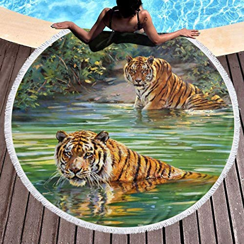 Round Surf Beach Towel - River Tigers Blanket Microfiber Yoga Mat with Tassels Ultra Soft Super Water Absorbent Multi-Purpose Towel ()