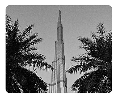 Burj Khalifa Black And White Gaming Mouse Pad - Fashion Hot Oblong Shaped Mouse Mat Design Natural Eco Rubber / Durable Office Computer Desk Stationery Accessories Mouse Pads For Gift / Laptop Mouse pad and Pc Desktop mouse pad / Support Wired Wireless or Bluetooth Mouse