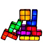 7 Colors Night Light 7 PCS Tetris Stackable Tangram Puzzle LED Induction Interlocking Desk Lamp 3D Toys Ideal Gift for Home and Office Decorations Easy Stacking up Magical Decoration (Colorful)