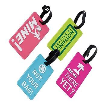 EQLEF® Conjunto de 4 Etiquetas de Equipaje Precioso Titular de Tarjeta Secure Business Etiquetas de Equipaje Maleta de PVC/Bolsa de Viaje de ID Tag: ...
