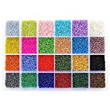 BALABEAD 24000pcs in Box 24 Multicolor 12/0 Glass Seed Beads Transparent Silver Lined Seed Beads, 2mm Round, Hole 0.8mm (1000pcs/Color, 24 Colors)