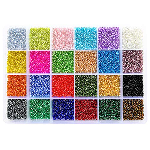 BALABEAD 24000pcs in Box 24 Multicolor 12/0 Glass Seed Beads Transparent Silver Lined Seed Beads, 2mm Round, Hole 0.8mm (1000pcs/Color, 24 Colors) -