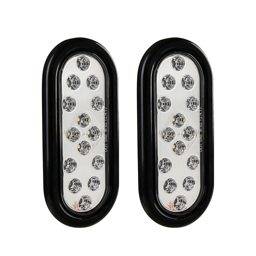 CZC AUTO 6'' LED Waterproof Oval Red Trailer Lights Rear Stop Turn Signal Parking Tail Brake Lights for Boat Trailer Truck RV (2Pack, Transparent)