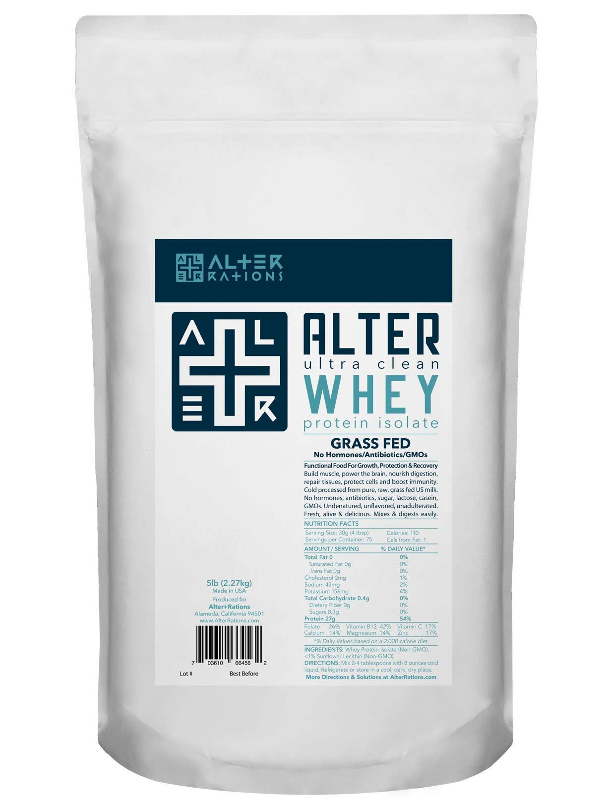 Alter+WHEY | Ultra-Clean Grass-Fed Whey Protein Isolate | Professional-Grade. Cold-Processed. No Sugar. No Additives. Unflavored. (5 lbs)