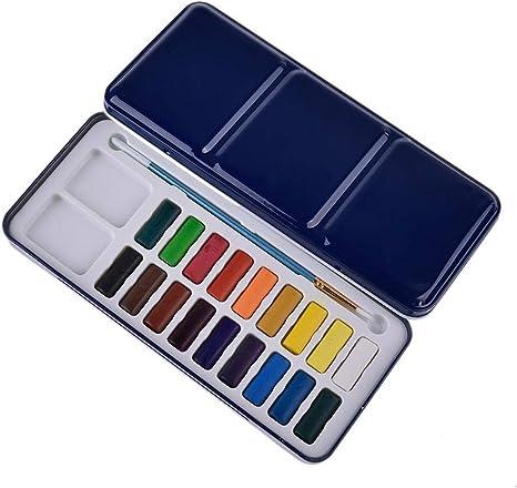 Juego de pinturas de acuarela para principiantes, caja de hierro azul ligera y portátil, juego de pinceles de acuarela incluidos, 12 colores, 18 colores, 24 colores opcionales. color Talla:18 color: Amazon.es: Bebé