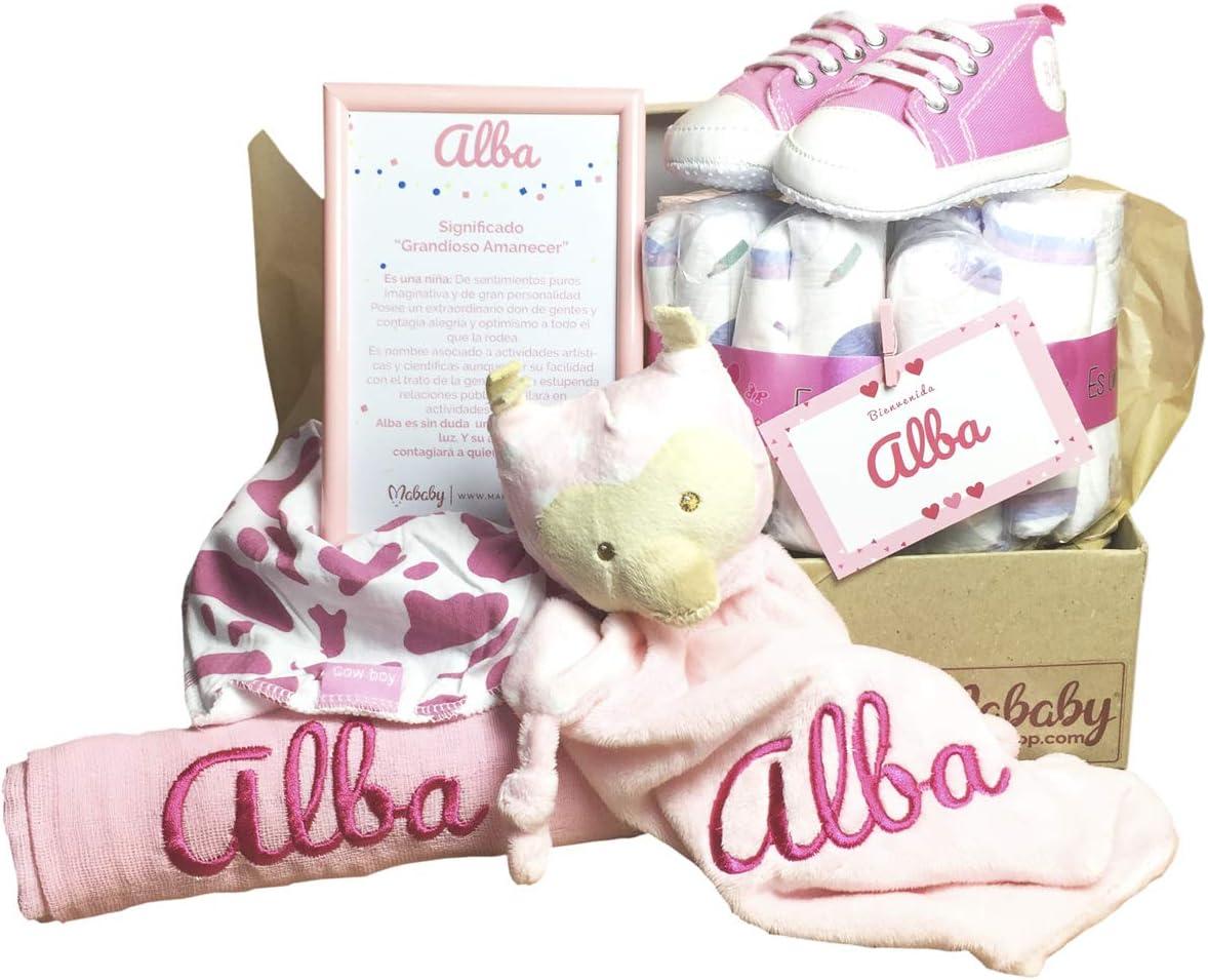 MabyBox My Sneakers | Canastilla de Bebe | Regalo original Recien Nacido | Cesta de Bebe Personalizada | Regalos bebé (rosa, 0-3 meses)