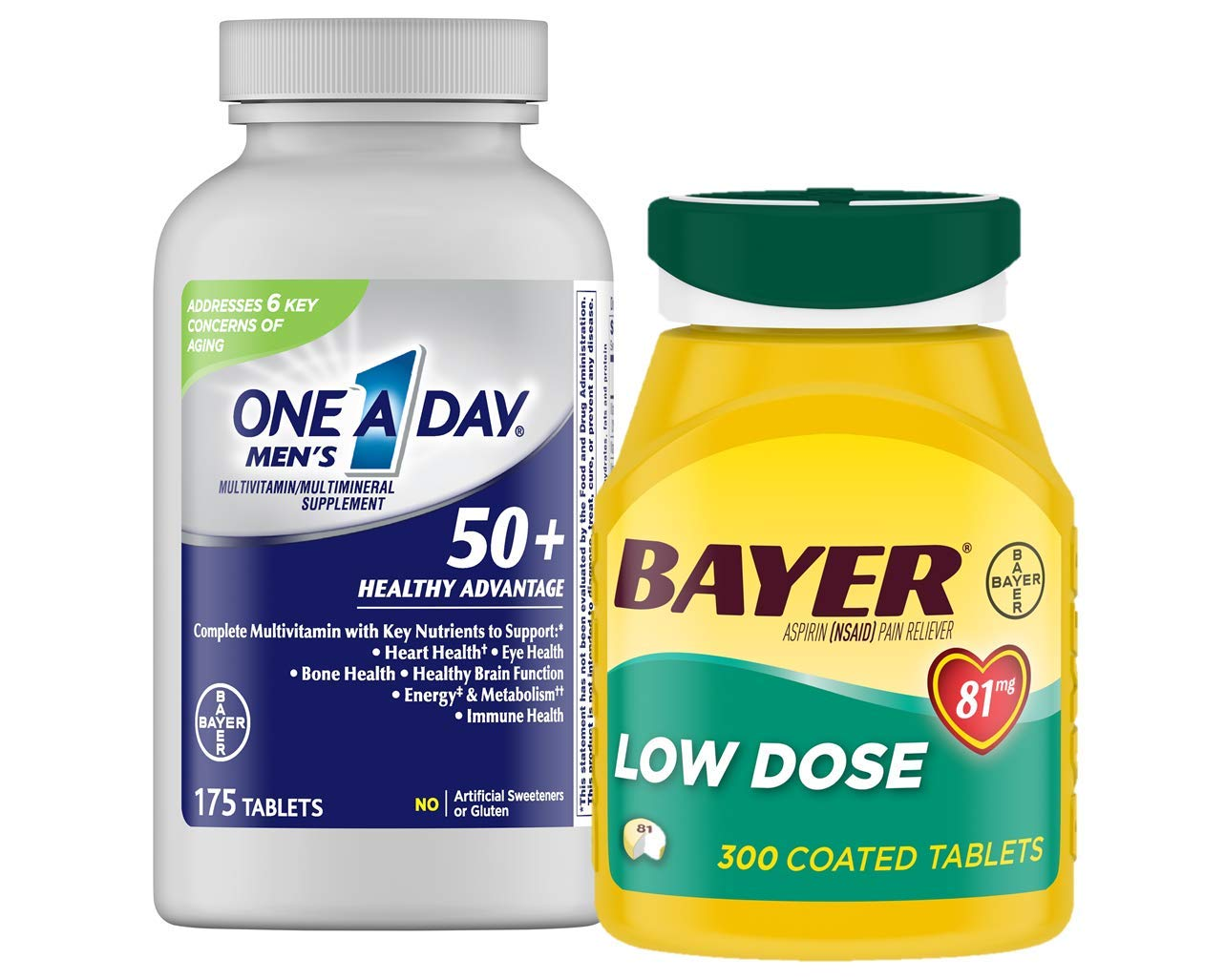 Bayer Aspirin 300 Count & One A Day Men's 50+ 175 Count Bundle Pack by Bayer