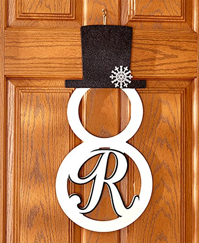 "The Lakeside Collection Monogram Snowman Door Hanger ""R"""