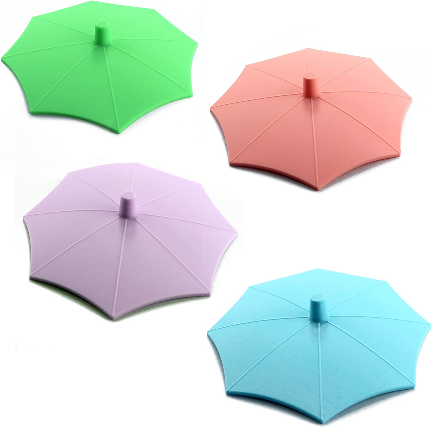 NEW Silicone Umbrella Cup Covers 4-Pack(Upgrade oct. 2020), Dust-Proof Food Grade Lids Keep Drinks Warm or Cold Longer, Lids for Mugs, Tea Pots, Flexible Mug Covers Lids for Coffee&Tea.(Mix Colour)