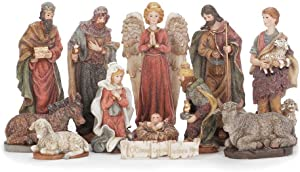 Let Us Adore Him 7.5 inch Resin Stone Christmas Nativity 13 Piece Figurine Set