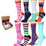 Frenchic 8 Pairs Women Colorful Patterned Fashion Crew Socks (CrewSL8-B)